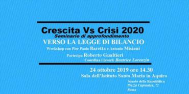 """Seminario  """"Crescita Vs. Crisi 2020"""" – Senato della Repubblica"""